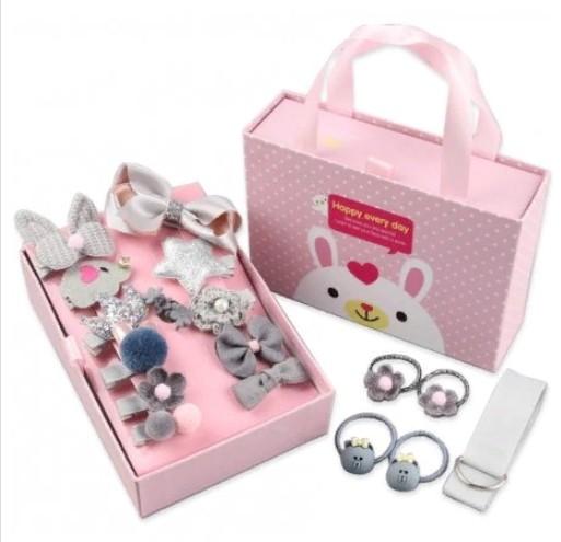 Подарочный набор заколок для девочек, 18 предметов, Цвет Серый
