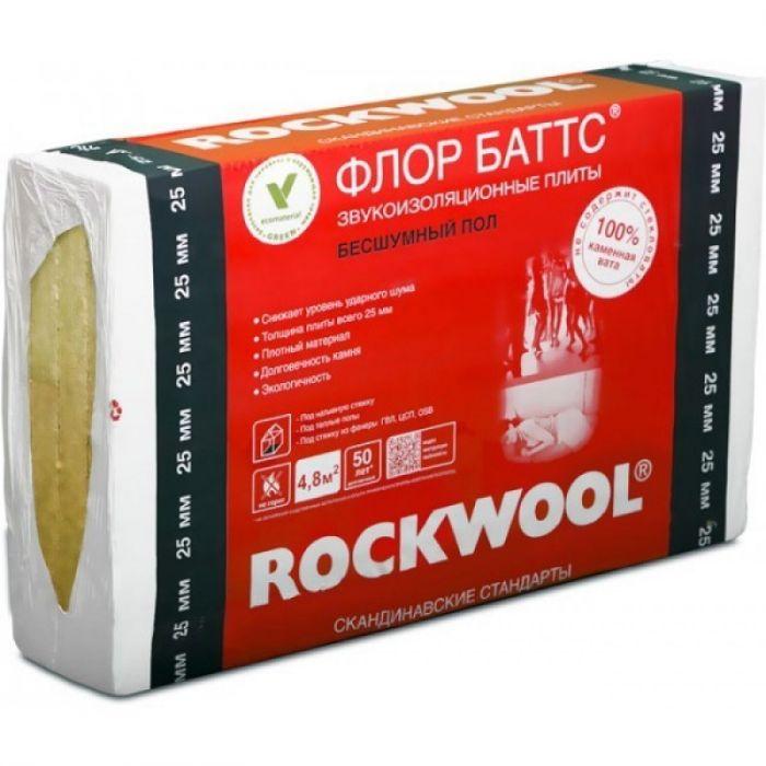 Утеплитель Rockwool Флор Баттс, 1000х600х25 мм (8 плит/4.8 м²)