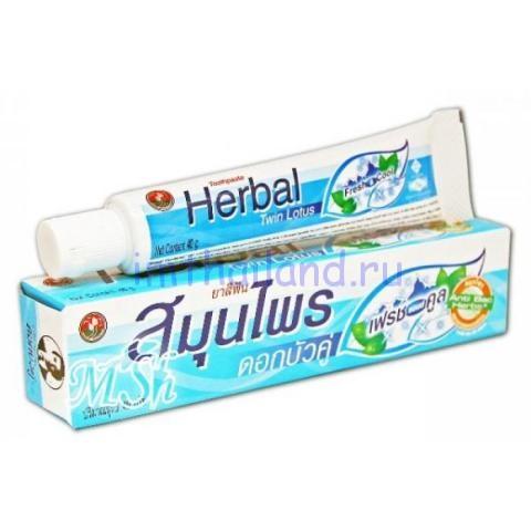 Тайская зубная паста Twin Lotus Herbal Fresh Cool (Твин Лотус) без фтора 100 гр