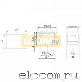 Выключатель клавишный 250V 6А (3с) ON-ON красный Mini (RWB-202, SC-768)