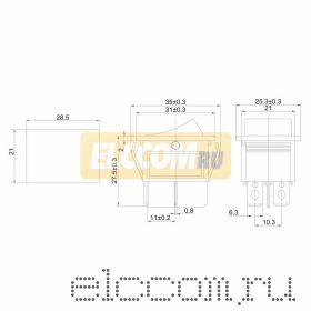 Выключатель клавишный 250V 15А (4с) (ON)-OFF черный Б/Фикс (RWB-501, SC-767)