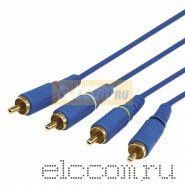 Шнур 4х4 RCA 2 м синий gold REXANT