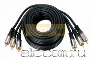 Шнур 3RCA Plug - 3RCA Plug 5М (GOLD) - металл REXANT