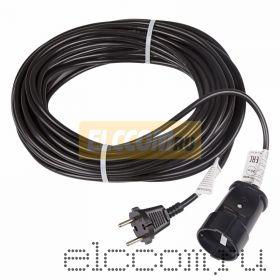 Удлинитель шнур 20м (1 роз.) 2х0.75 черный REXANT (Сделано в РОССИИ)