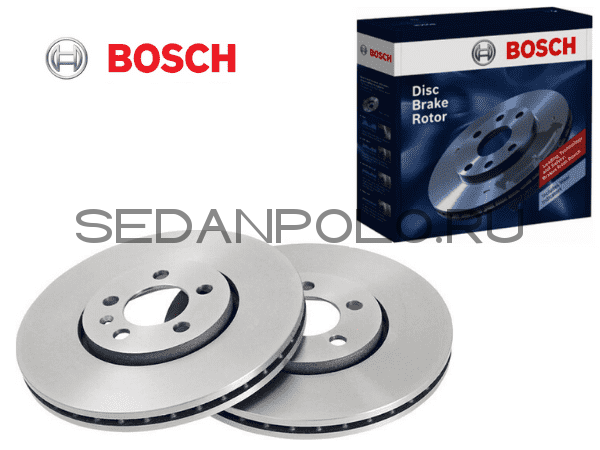 Диск тормозной передний BOSCH Polo Sedan/Rapid CWVA/CZCA 110/125 л.с