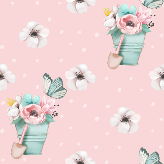 Хлопок Перкаль Садовые цветы 50х37