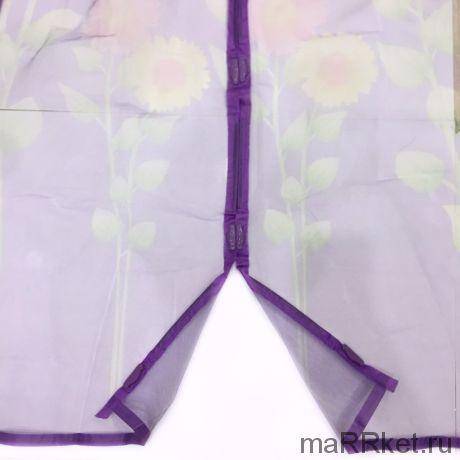 Дверная антимоскитная сетка с рисунком на 7 магнитах-птичках (фиолетовый)
