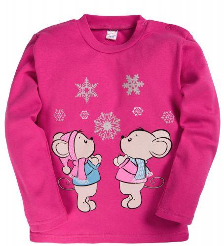 Джемпер для девочки с начесом  1-4 лет BK006 темно-розовый