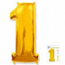 """Фигура """"1""""  (40""""/102 см) золото, в упаковке"""