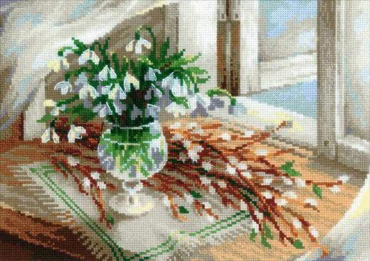Набор для вышивания крестом Верба и подснежники №1641 фирма Риолис