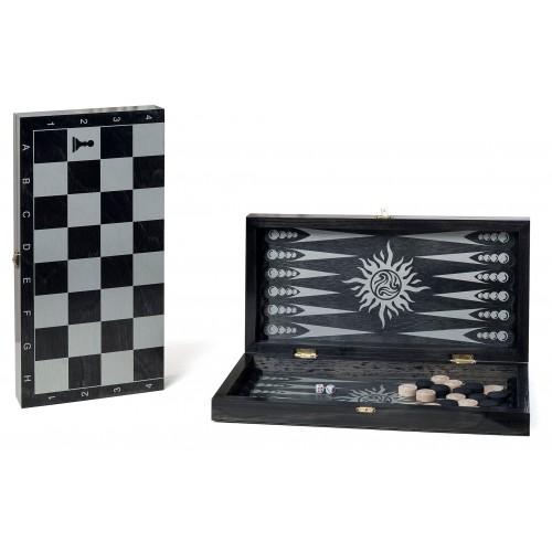 Набор 2 в 1 деревянный Классика 088-12 (шашки, нарды) черный 40х40см