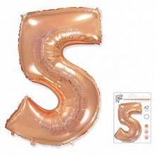 """Фигура """"5""""  (40""""/102 см) розовое золото, в упаковке"""