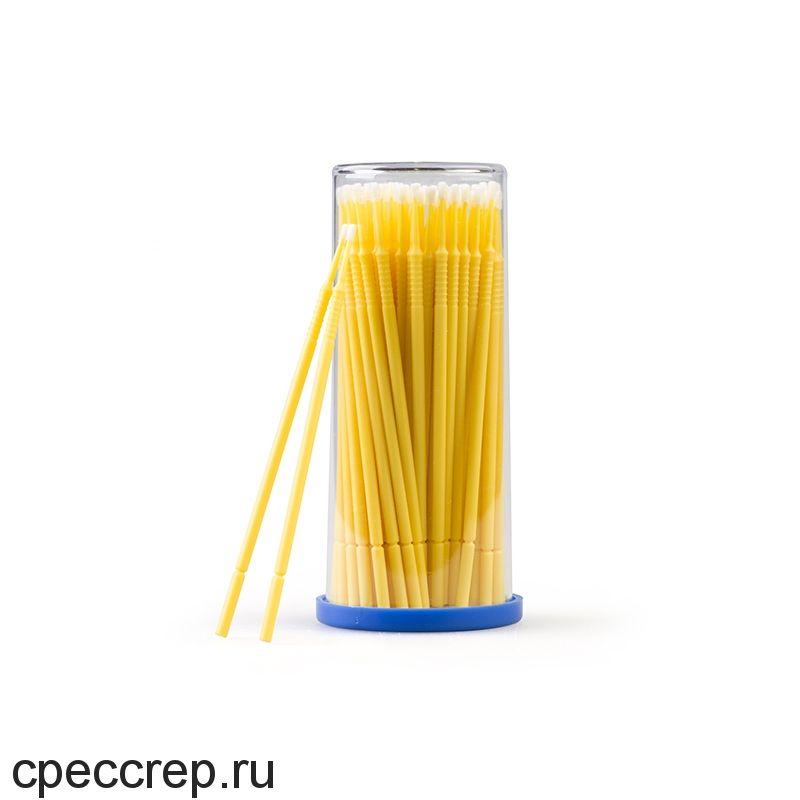Набор аппликаторов с микро-кисточкой для мелкого ремонта, тонкие 1.5 мм, жёлтые, 100шт.