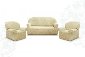 """Комплект чехлов """"Престиж"""" из 3х предметов (трехместный диван и 2 кресла)без оборки,10029 ваниль"""