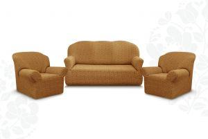 """Комплект чехлов """"Престиж"""" из 3х предметов (трехместный диван и 2 кресла)без оборки,10034 кофе с молоком"""