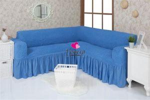 Чехол на диван угловой 2+3 универсальный ,Бирюзовый