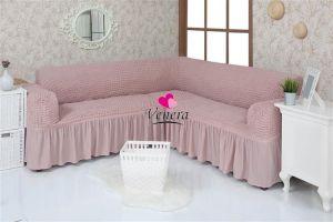 Чехол на диван угловой 2+3 универсальный с оборкой (1шт.)  ,Сухая роза