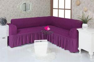 Чехол на диван угловой 2+3 универсальный с оборкой (1шт.)  ,Фиолетовый