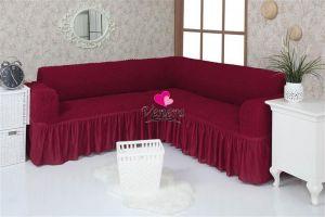 Чехол на диван угловой 2+3 универсальный с оборкой (1шт.) , Бордовый