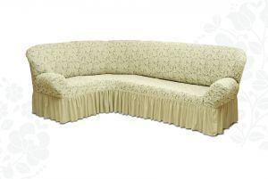Чехол на диван угловой Престиж универсальный ,Ваниль v5