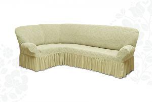 Чехол на диван угловой Престиж универсальный ,Ваниль v9