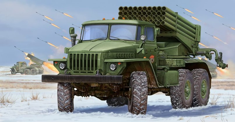 Техника  РСЗО  Russian BM-21 Grad Multiple Rocket Launcher  (1:35)