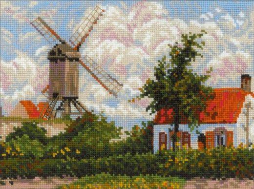 Набор для вышивания крестом Ветряная мельница в Кноке №1702 фирма Риолис