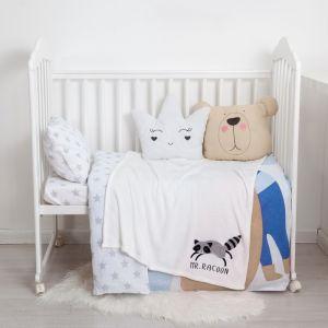 "Одеяло-плед с вышивкой ""Крошка Я"" Mr. Racoon, 90х100 см, велсофт 4855580"