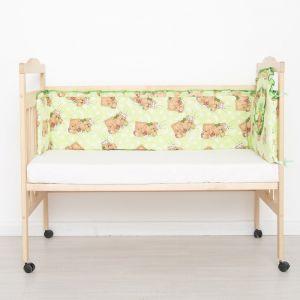 "Бортик цельный ""Спящий мишка"", 4 части (2 части: 33х60 см, 2 части: 33х120 см), цвет зелёный (арт. 512)"