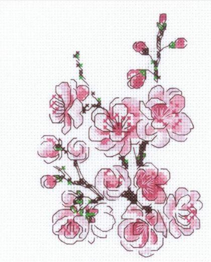 Набор для вышивания бисером Веточка сакуры №1818 фирма Риолис