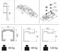 Комплект фурнитуры Krona Koblenz 0500-80 ABS на 1 дверь до 80 кг с доводчиком. схема
