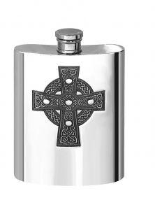 Фляжка из британского пьютера прямоугольная- Кельтский Крест, Celtic Cross 6oz Pewter Hip Flask.