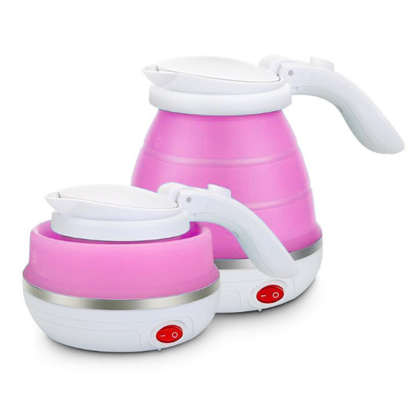 Складной чайник силиконовый электрический Collapsible Silicone, 600 мл, цвет Розовый