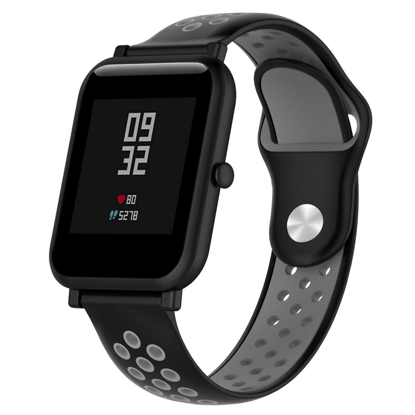 Сменный ремешок для Умных часов  Amazfit Bip Smartwatch (Черный - Серый)