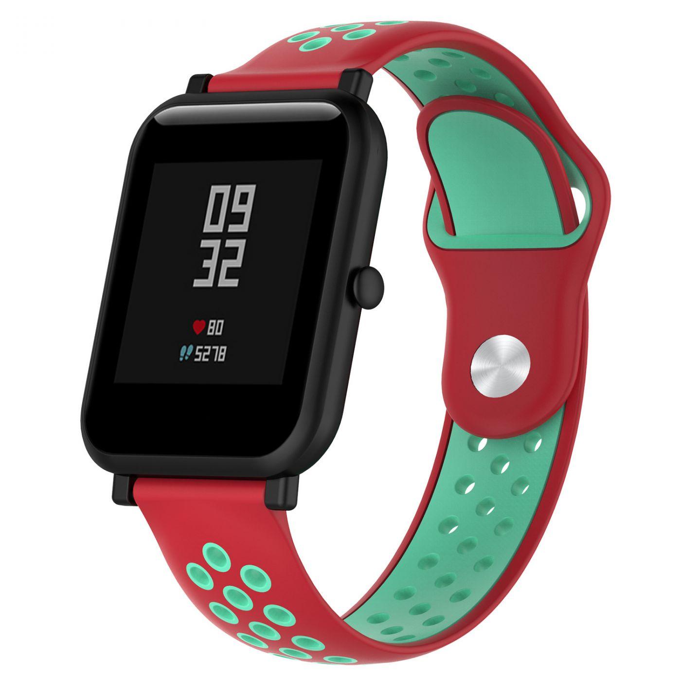 Сменный ремешок для Умных часов  Amazfit Bip Smartwatch (Красный - Салатовый)