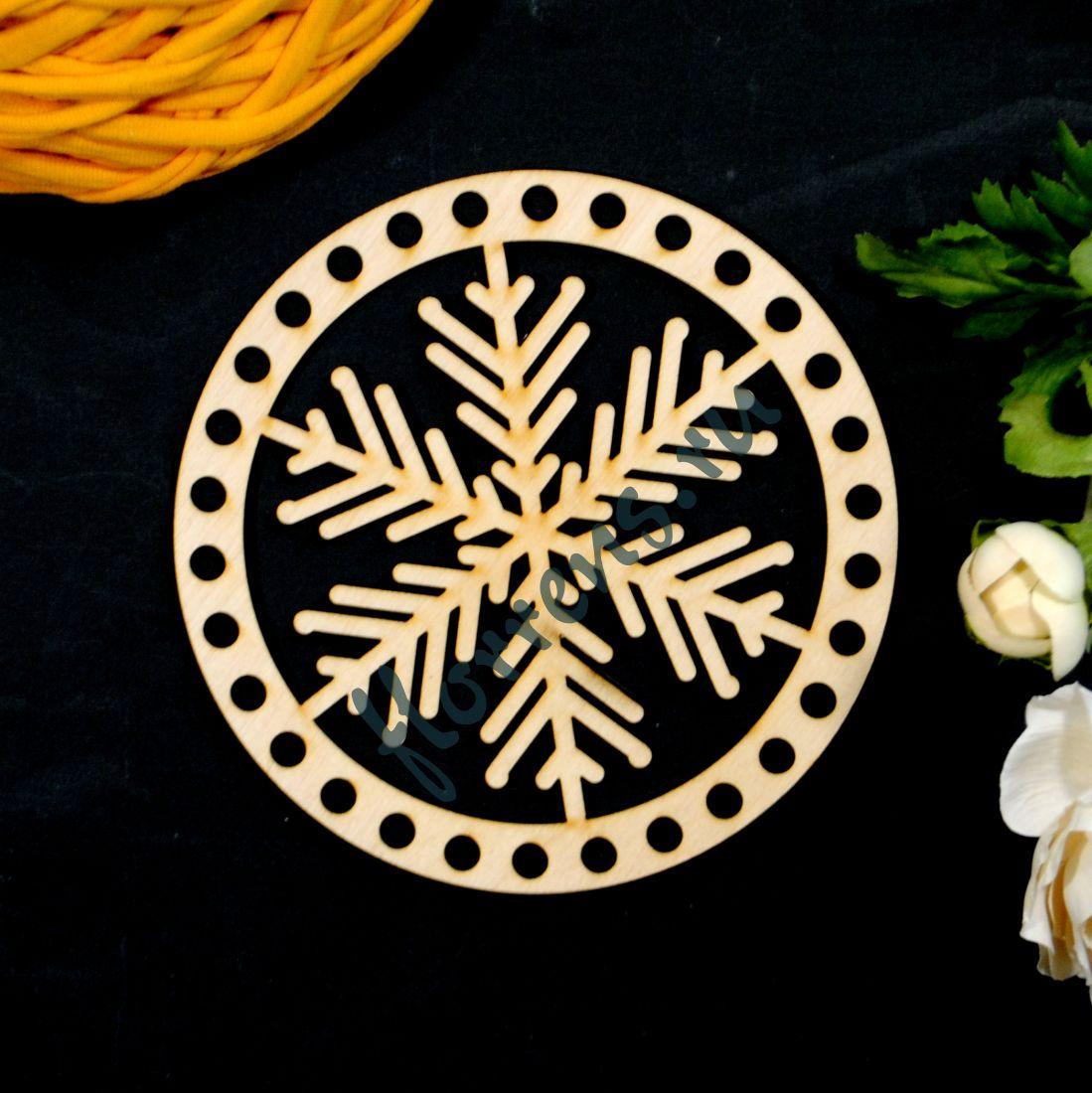Крышка из фанеры / 15 см, снежинка ажурная