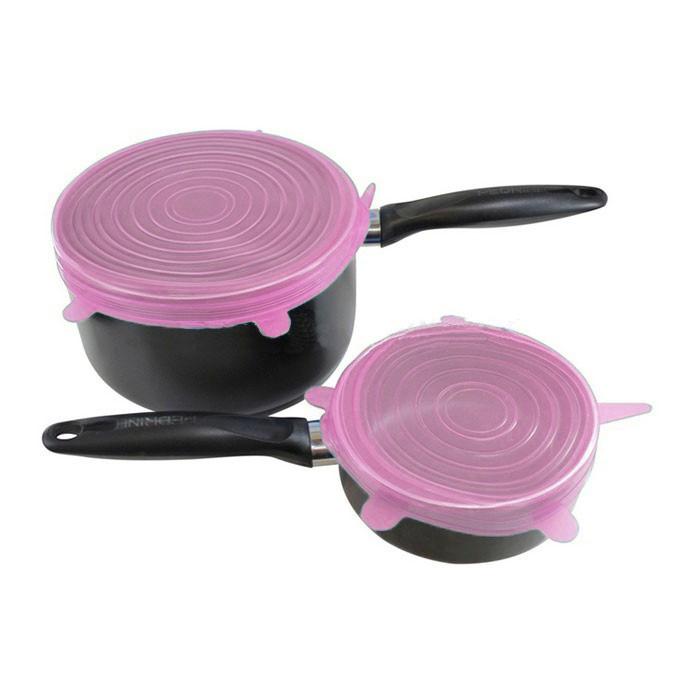 Силиконовые Крышки Silicone Sealing Lids, 6 шт, Цвет Розовый