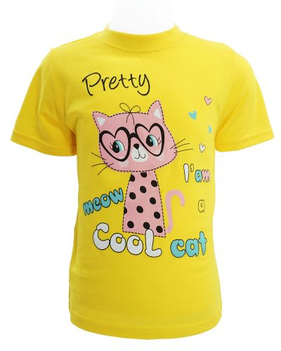 """Футболка для девочки 1-4 года Dias kids """"Cool cat"""" желтая"""