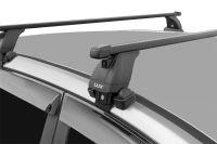 Багажник на крышу Hyundai Solaris (c 2017г, sedan), Lux, стальные прямоугольные дуги