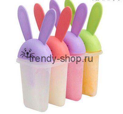 Формы для фруктового льда и мороженого Зайчики, 4 шт