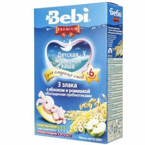 Каша Bebi Премиум 200 гр мол. 3 злака с яблоком и ромашкой Для сладких снов с 6 мес.