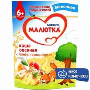 Каша Малютка Овсяная банан/груша/персик молоч. 220гр м/у