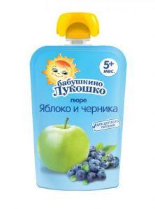 Пюре Бабушкино лукошко 90гр из яблок и черники м/у