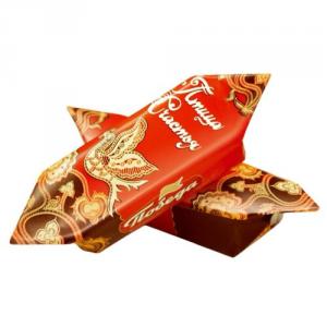 Конфеты 094 ваф. Птица Счастья с начинкой из тертого миндаля в слив. шоколаде