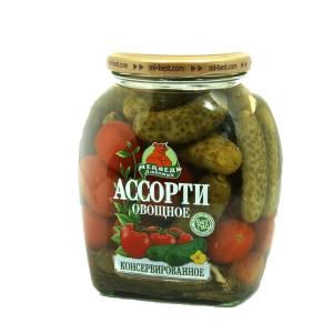Ассорти овощное 1500 мл (помидоры+огурцы) Медведь Любимый