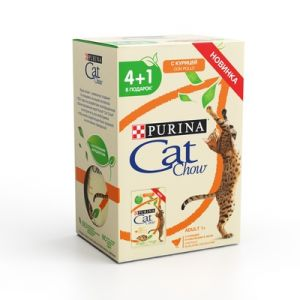 "НАБОР Purina Cat Chow паучи для кошек ""Кусочки в желе с курицей и кабачками"" 4+1 (5*85гр) 425 гр"