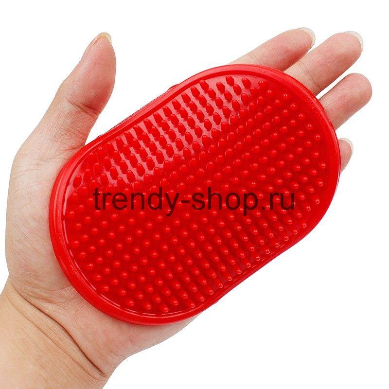 Резиновая массажная щётка для животных Овал, 12х8 см