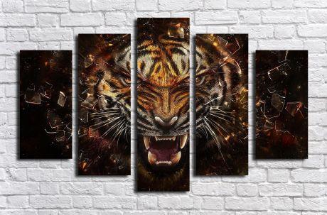Модульная картина Свирепый тигр