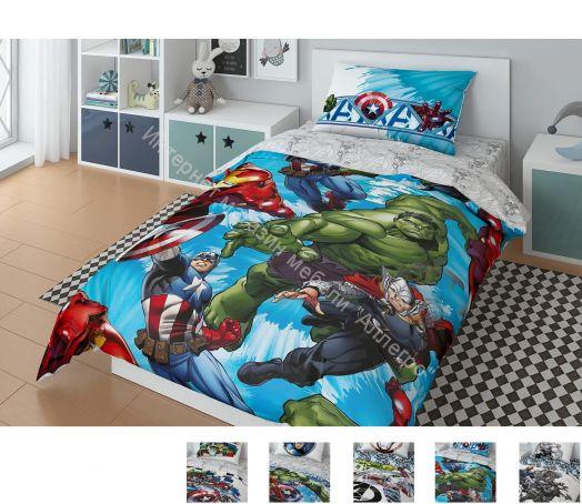 """Детское постельное белье """"Marvel Мстители"""" Поплин 1,5-спальный комплект (наволочка 70х70)"""
