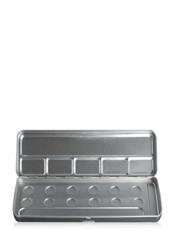 Make-Up Atelier Paris Palette Mеtal Vide M12C 12 Holes Metal Box Пенал-палитра металлическая для акварели на 12 позиций